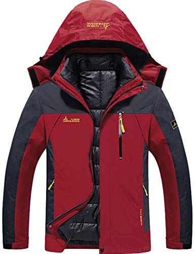 GEMYSE 3-in-1 waterdichte ski-jack functionele jas warm winterjas winddicht outdoor wandeljas dubbele jas regenjas