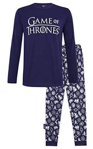 Juego de Tronos Pijama Hombre Mujer Se Acerca el Invierno, Pijamas Dos Piezas de algodón de Manga Larga Invierno, Emblemas de diseño Casas de Juego de Tronos, Regalos para Mujeres Hombres (S, Armada)