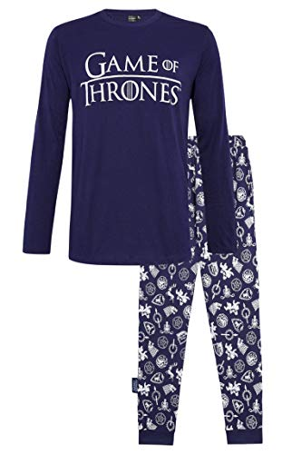 Juego de tronos Pijama Hombre Mujer Se acerca el invierno, Pijamas Dos piezas de algodón de manga larga Invierno, Emblemas de diseño Casas de Juego de Tronos, Regalos para mujeres Hombres (XL, Armada)