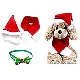 Kungfu Mall Haustier Weihnachtsmütze Cute Christmas Hat Schal Kragen Krawatte Einstellbare Haustier Kragen Fliege Santa Kitty Puppy Sweet Gift-3PCS