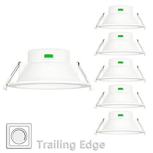 12W LED Einbauleuchten Downlight Flach Weiß Dimmbar IP44 Feuchtraum 230V Ohne Trafo Einbaudurchmesser 120-140MM 3000K 4000K 5000K Einstellbar 6er Lampen von Enuotek