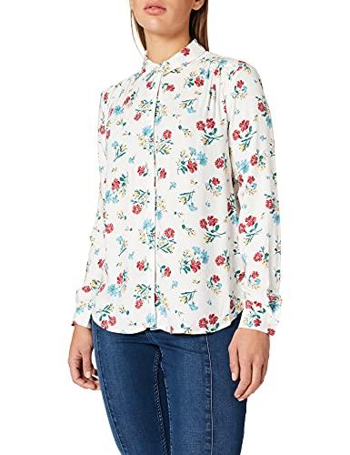Springfield Blusa Fluida Estampada Camisa, Marfil, 42 para Mujer
