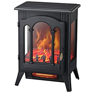 Kismile 3D Infrared Electric Fireplace Stove, Freestanding Fireplace Heater With Realistic Flame Effects, Portable Indoor Space Heater With Overheating Safety System, Adjustable Brightness (16.3 inch)