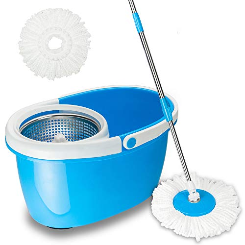 Valuebox 360Spin Mop Bucket System Stainless Steel with Extended Length Handle&2 Microfiber Mop Heads, EasyWring Spin Mop Bucket System, Magic Spinning Mop Floor Cleaning System for Home Kitchen