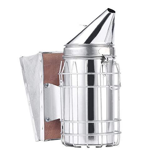 HERCHR Kit de transmisor para ahumador de Abejas Herramienta de Apicultura de diseño Puntiagudo con Placa de protección de Escudo térmico, Acero Inoxidable