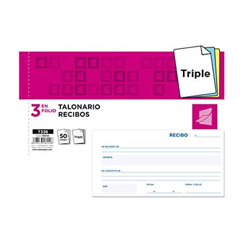 Liderpapel - Talonario Recibos 3/F║ Apaisado Original Y 2 Copias Sin Matriz ✅