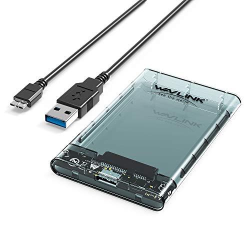 WAVLINK USB 3.0 to SATA External Hard Drive Enclosure for 2.5 inch 5mm/7mm/9.5mm SATA I/II/III HDD/SSD Support UASP Function, Max 4TB Tool-Free Design