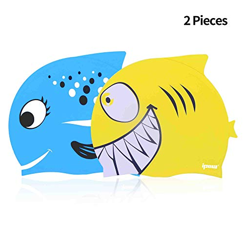 IPOW 2 PZ Cuffia da Nuoto Bambini Cuffia Piscina Bambino in Silicone atossico Antiscivolo, Impermeabile, Cura dei Capelli per Bambini e Ragazzi, Blu Pesce e Giallo squalo