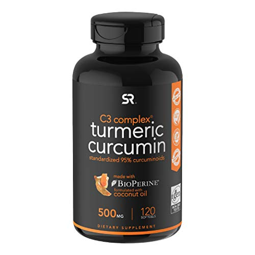 Sports Research Turmeric Curcumin C3 Complex 500 Mg with 95% Curcuminoids,Bioperine and Organic Virgin Coconut Oil. 120 Capsules