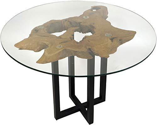 Guru-Shop Tisch, Eßtisch, Kaffeetisch, Beistelltisch, Couchtisch mit Baumscheibe, Runder Glasplatte - Modell 6, 70x98x98 cm, Salontafels Vloertafels