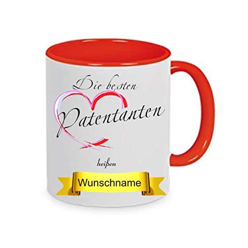 Crealuxe Tasse m. Wunschname Die besten Patentanten heißen. Wunschname - Kaffeetasse mit Motiv, Bedruckte Tasse mit Sprüchen oder Bildern