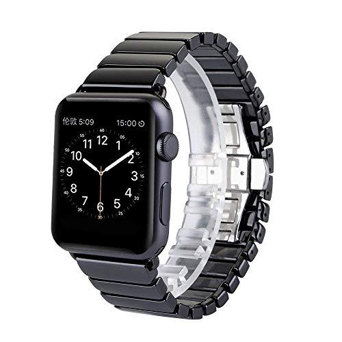 Bandas de cerámica Compatible con Apple Watch 38mm 40mm 42mm 44mm Correa de acero inoxidable de la correa de reemplazo de la banda de la banda Sport Soft transpirable para iWatch Series 6 / SE / 5/4/3