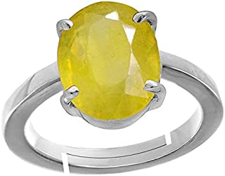 GEMS HUB 7.00 Ct.-7.50Ct. Yellow Sapphire/ Pukhraj Stone Silver Adjustable Ring For Women