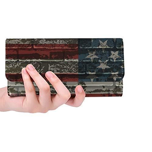 JOCHUAN Einzigartige benutzerdefinierte amerikanische gestreifte flagge auf ziegelsteinmauer frauen trifold brieftasche lange geldbörse kreditkarteninhaber fall handtasche