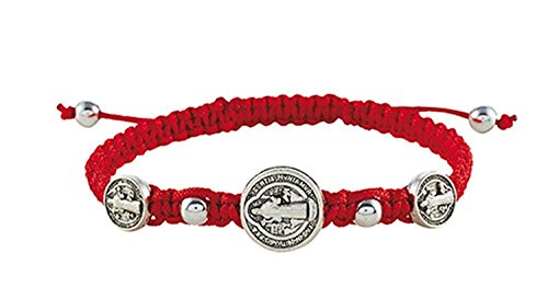 CB Silver Tone Saint Benedict Trinity Medals on Cord Bracelet, 8 Inch (Red)