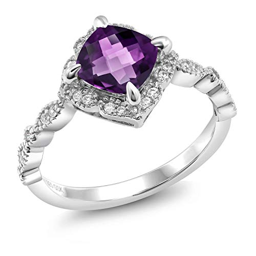 Gem Stone King 925 Sterling Silver Purple Amethyst Women Solitaire Engagement Ring (1.44 Ct Cushion Checkerboard Cut) (Size 6)