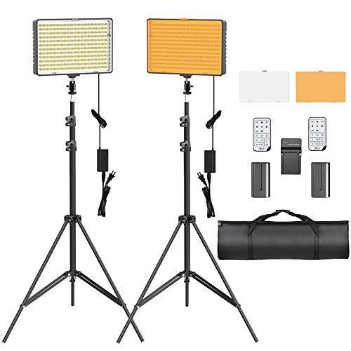 SAMTIAN Dimmable Video Lighting Kit, Photography Lighting with 79 Inches Stands, Batteries, Remote, Carrying Bag and LED Light Panel for YouTube Studio Photography, Video Shooting, Zoom Cloud Meeting