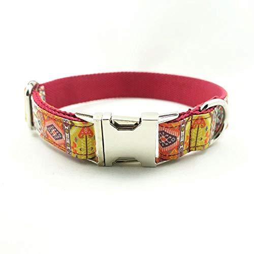 XBUTY Handmade selbst entworfener Hundehalsband, Rot-grüner böhmischer Ethno-Stil Weiches und bequemes Nylon + Flanellstoff-Halsband für kleine/mittlere Hunde, Größe S/M / L/XL 4 Wählen Sie
