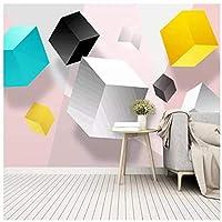 Wkxzz 壁の背景装飾画 カスタム抽象正方形幾何学的背景壁紙壁画-150X120Cm