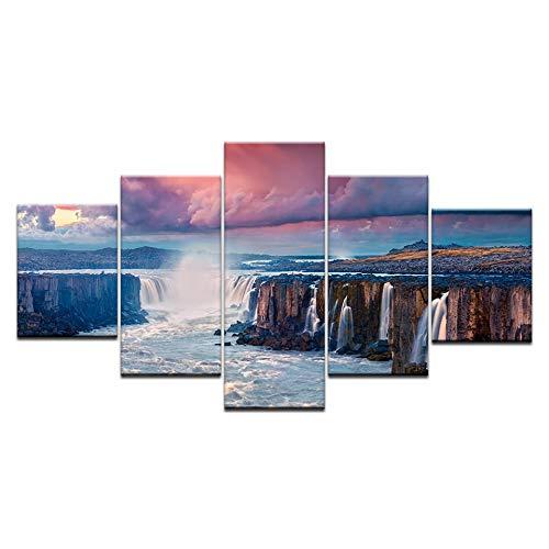 PEJHQY Quadro su Tela Wall Art Living Room Decor 5 Pezzi Sunshine Waterfall Lake Natural Landscape Poster HD Prints Pictures Framework,Salvatore Fiume Stampa su Tela