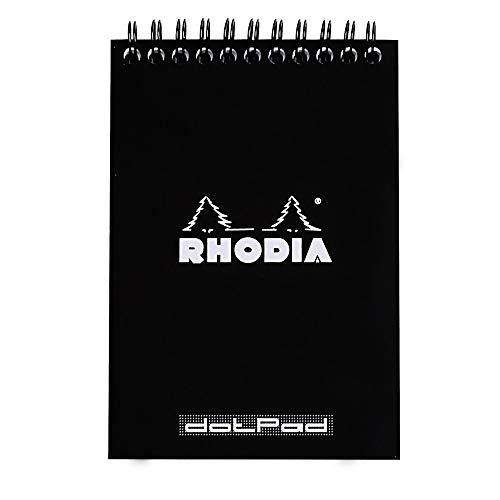 Rhodia 135039 - DotPad - Taccuino A6, spirale doppio, a righe, microforato, 80 fogli, nero, 1 pezzo