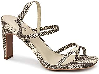 Qupid Kaylee Heels for Women - Stone & Taupe Faux Snakeskin Sandals - 7