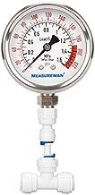 MEASUREMAN Lead Free Glycerin Filled Reverse Osmosis Pressure Gauge, Purified Water Pressure Gauge, 2-1/2