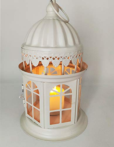 fhf Decorative Candle Lanterns Castle Candlestick Lantern Halloween Party Home Wedding Church Decoration (5.1inchx5.1inchx9inch, White)