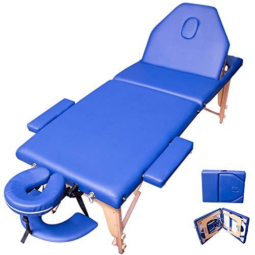 Nanofort Cama Masaje Camilla Spa Reclinable Ligera Plegable Estuche Portatil Profesional Mesa de Tatuajes Terapia Cabecera Portabrazos Fisioterapia Tattoo (Azul)