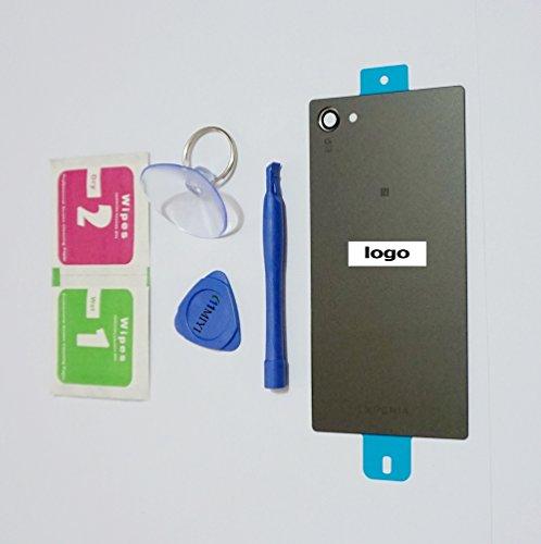 MIYI Nuevo Negro Tapa de Batería Tapa Contraportada Trasera Back-Carcasa Reemplazo para Sony Xperia Z5 Compact E5803 E5823 + Adhesivo + Herramientas + Limpieza