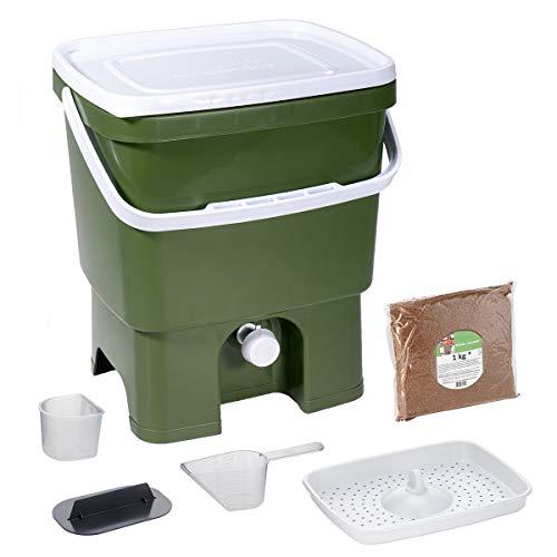 Skaza Bokashi Organko (16 L) Garten- und Küchenkompostbehälter aus Recyceltem Kunststoff | Starterset mit Fermentationsaktivator Bokashi Organko 1 kg (Olive-Weiß)