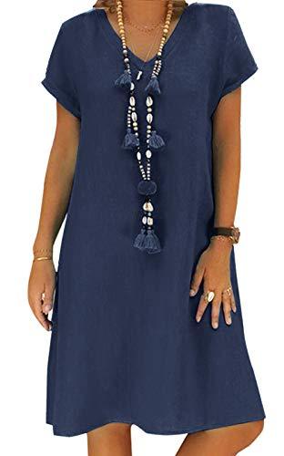 Yidarton Sommerkleid Leinen Kleider Damen V-Ausschnitt Strandkleider Einfarbig A-Linie Kleid Boho Knielang Kleid Ohne Zubehör(Dunkelblau,L)