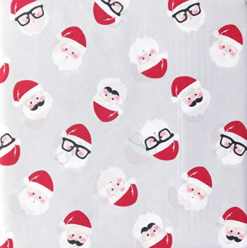 Cynthia Rowley 4 Piece Queen Size Sheet Set Happy Christmas Santa Claus Faces