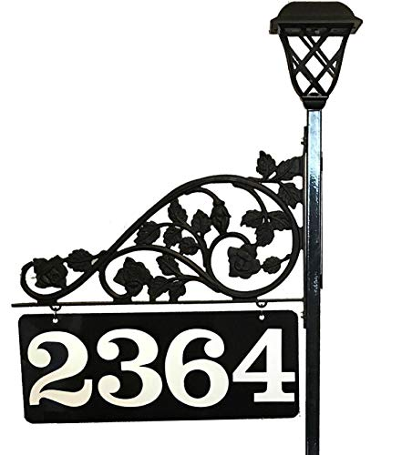 Personalized Two Driveways Address Reflective Sign Marker - BIG Numbers Double Sided with 48 or 60 inch Pole and a Solar Light