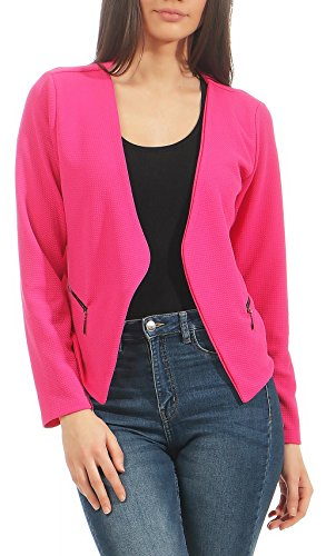 Malito Damen Blazer ohne Kragen | Sakko im Basic Look | Kurzjacke mit Zipper | Jacke - Jackett - Blouson 6040 (pink, XL)