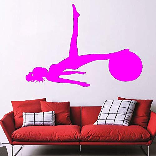 Ajcwhml Etiqueta de la Pared Yoga Deportes Gimnasio Tatuajes de Pared Arte Decoración del hogar móvil Silueta Papel Adhesivo de Vinilo 44cmx62cm