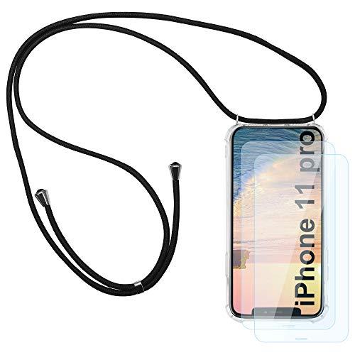 HaptiCover Telefon Halskette Hülle für iPhone 11 Pro 5.8 Handyhülle mit Lanyard Länge Verstellbare Schutzhülle Transparente Ultradünne Kristall Silikon TPU Stoßfeste Case