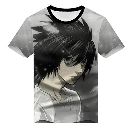 WANHONGYUE Death Note Anime Impression 3D à Manches Courtes T-Shirt Adulte Cosplay Japonais Tops Tee Chemises 6 XXXL