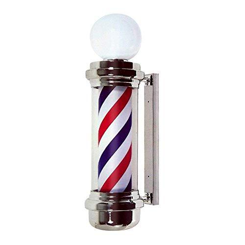 XCJJ Traditionnel 26 'Led Barber Pole, Red White Blue Rotating Light Stripes Sign Hair Salon, étanche, intérieur et extérieur, montage mural,rouge,68cm