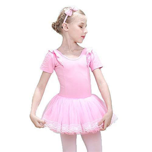 Kleid für Baby Girl Kinder Mädchen Kurzarm Tüll Tutu Röckchen Trikot Rüschen Baumwolle Skating Performance Tanz Ballettkleid Gymnastik Ballerina Dancewear Kostüme Modernes zeitgenössisches lyrisches K
