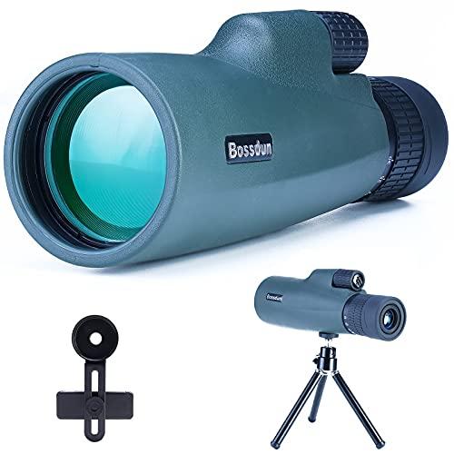 Telescopio Monocular para Adultos, 10-30x50 HD Monocular con Smartphone Soporte Trípode para Observación de Aves Viajes Camping Senderismo