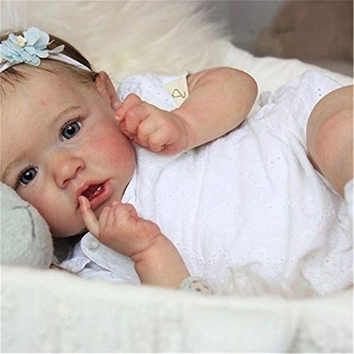 ZZSQ Realistic Saskia Reborn Baby Dolls Grey Eyes Girl Newborn Doll Soft Full Silicone Body Lifelike Nurturing Dolls Lightweight Washable Toddler Doll Xmas Gifts Toys for Kids