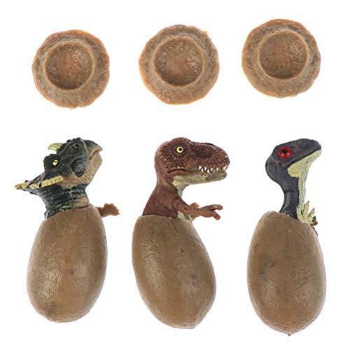 WWmily Juego de 3 huevos educativos de dinosaurio con una base realista para incubar huevos de dinosaurio para Pascua, regalo de Navidad