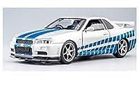 ダイキャストカーモデル 1:32 GTRのための日産の合金ダイキャストカーモデルGTR R34プルバック機能サウンドライトキッズ玩具カーコレクション子供の贈り物 車モデル ダ (Color : 白い)