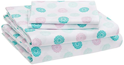 Amazon Basics Kids Sheet Set - Soft, Easy-Wash Lightweight Microfiber - Queen, Jade Medallion