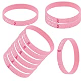 YNuth 10 x Pulsera Silicona de Conciencia del Cáncer de Mama de Coraje Fe y Amor Color Rosado Cancer de Mama Pulsera