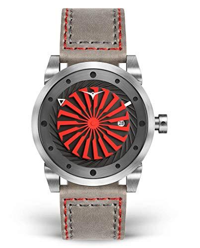 Zinvo Reloj de pulsera de lujo para hombre, correa de cuero italiano, reloj de turbina de 44 mm, movimiento automático