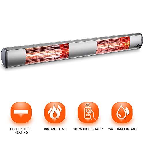 Sundate Electric Infrared Heater, 3000W Wall Mounted Patio Heater, Outdoor/Indoor Infrared Space Heater Golden Tube Waterproof IP65