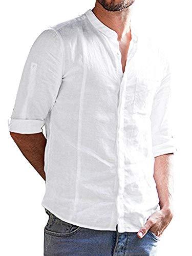 Fueri Herren Hemd Stehkragen Kurzarm Leinen Freizeithemden Slim Fit Sommer Hemd Langarmshirt, Weiß, L