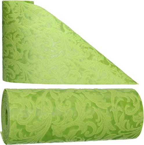 AmaCasa Tischläufer Ornament Wasserabweisend | Tischband mit Lotoseffekt | 30cm/20m | Grün | Dekorativ für Partys und andere Feierlichkeiten | Abwaschbarer Tischläufer zum wiederverwenden